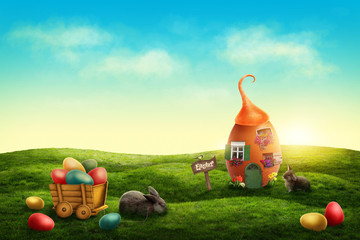 Spring easter meadow with egg house and rabbits