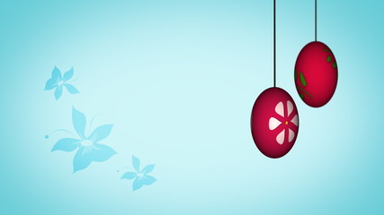 Animated two Easter eggs spinning with the flower background