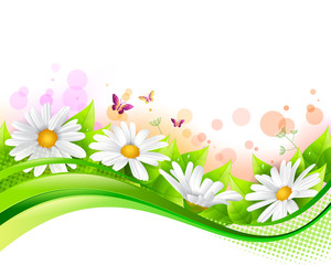 Flower and leaf banner