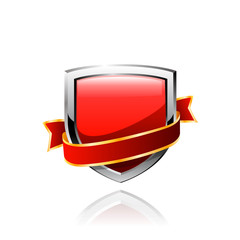 Red shield and red ribbon. Vector