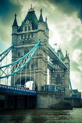 Tower Bridge London, UK with vintage tone