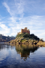 Almourol castle located in small island on Tejo river