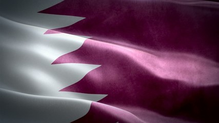 Realistic 3d seamless looping Qatar flag waving in the wind.