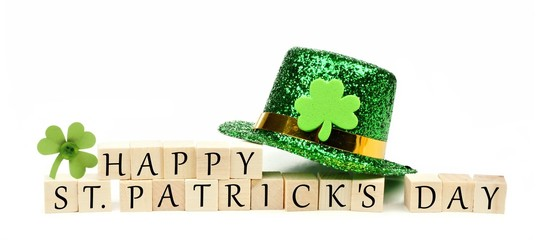 Happy St Patricks Day wooden blocks with hat and shamrock