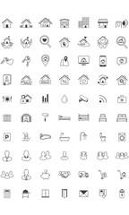 Real Estate icon set, Line , Minimalistic, Home