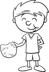 boy with cookie coloring page
