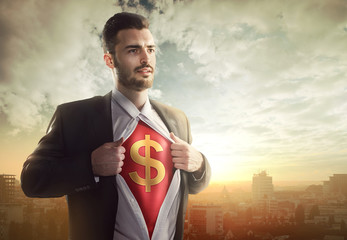 Businessman with dollar sign as superhero
