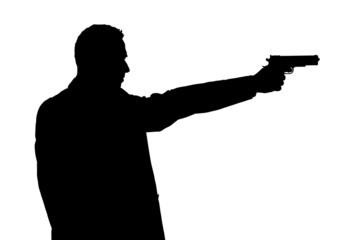 Mann zielt mit eine Pistole, Scherenschnitt