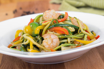 spicy shrimp sauté on vegetable zucchini noodle