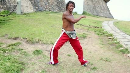Brazilian playing Capoeira in Salvador, Bahia