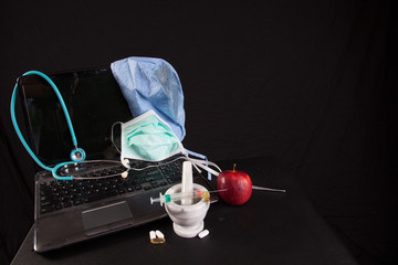 Healthcare equipment with a laptop