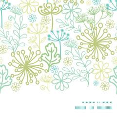 Vector mysterious green garden horizontal frame seamless pattern