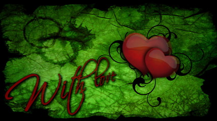 With love inscription with beating heart for Valentine's day