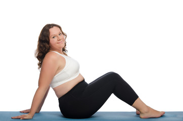 fat woman with overweight involved in fitness