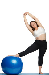 woman with extra weight makes slopes blue ball