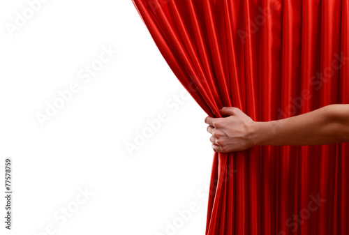 Red Curtain on white background Poster