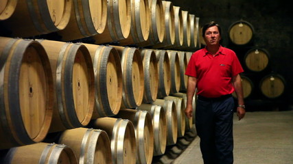Shot of the man checking the barrels in the wine cellar