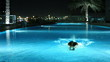 attractive blonde women swimming a luxury pool at night
