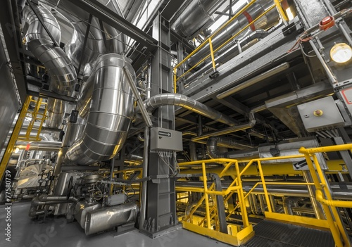 Leinwanddruck Bild Industrial pipes in a thermal power plant