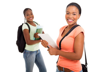 african college girl in front of her friend