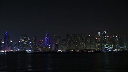 view of Dubai skyscraper at night
