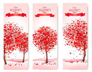 Three Holiday banners. Valentine trees with heart-shaped leaves.