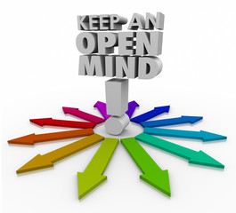 Keep an Open Mind 3d Words Accepting New Ideas Non Judgmental