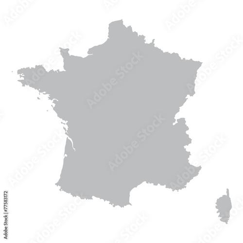 szara mapa Francji