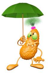 Monster holds an umbrella of green colour