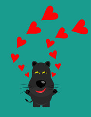 tricky black leopard gartoon character with heart