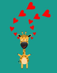 tricky giraffe gartoon character with red heart