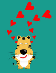 tricky tiger gartoon character with red heart