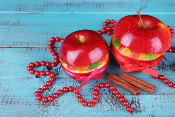 Christmas red apples stuffed with dried fruits