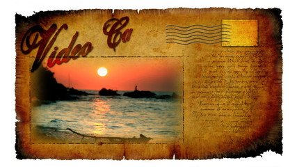 Animated video card with picture of sunset at beach