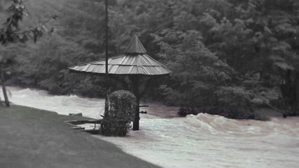 View of the flooded party place