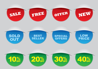 Round Sale Label for Advertisements and Promotion
