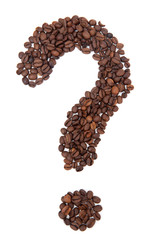 The coffee beans in shape of question mark, isolated on white ba