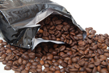 the broken package with coffee beans