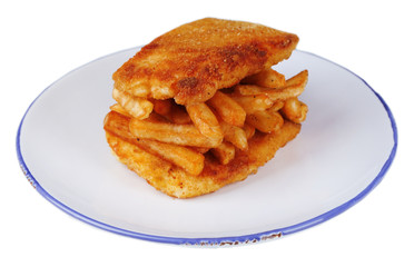 Breaded fried fish fillet and potatoes