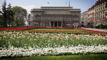 Garden with blossom flowers in front of building in Belgrade in Serbia