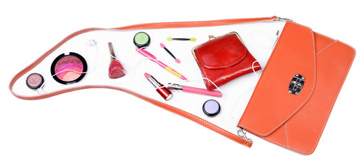 Ladies handbag and things with accessories of it isolated