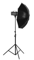 Studio flash with umbrella isolated on white