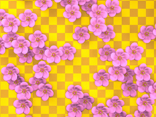 Cherry Blossoms On Gold Pattern Background