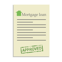 Mortgage loan document with approved stamp