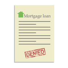 Mortgage loan document with denied stamp