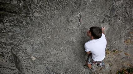 HD1080p: Man rock climbing in nature