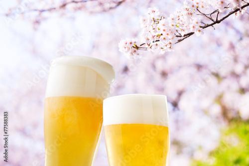 Fotobehang Bier ビール(桜)