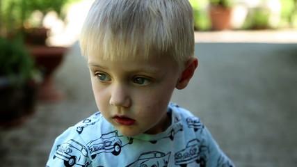 Close up of sad child
