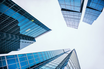 Modern glass skyscrapers