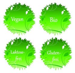 Vegan, Bio, Laktosefrei, Glutenfrei - Button / Logos